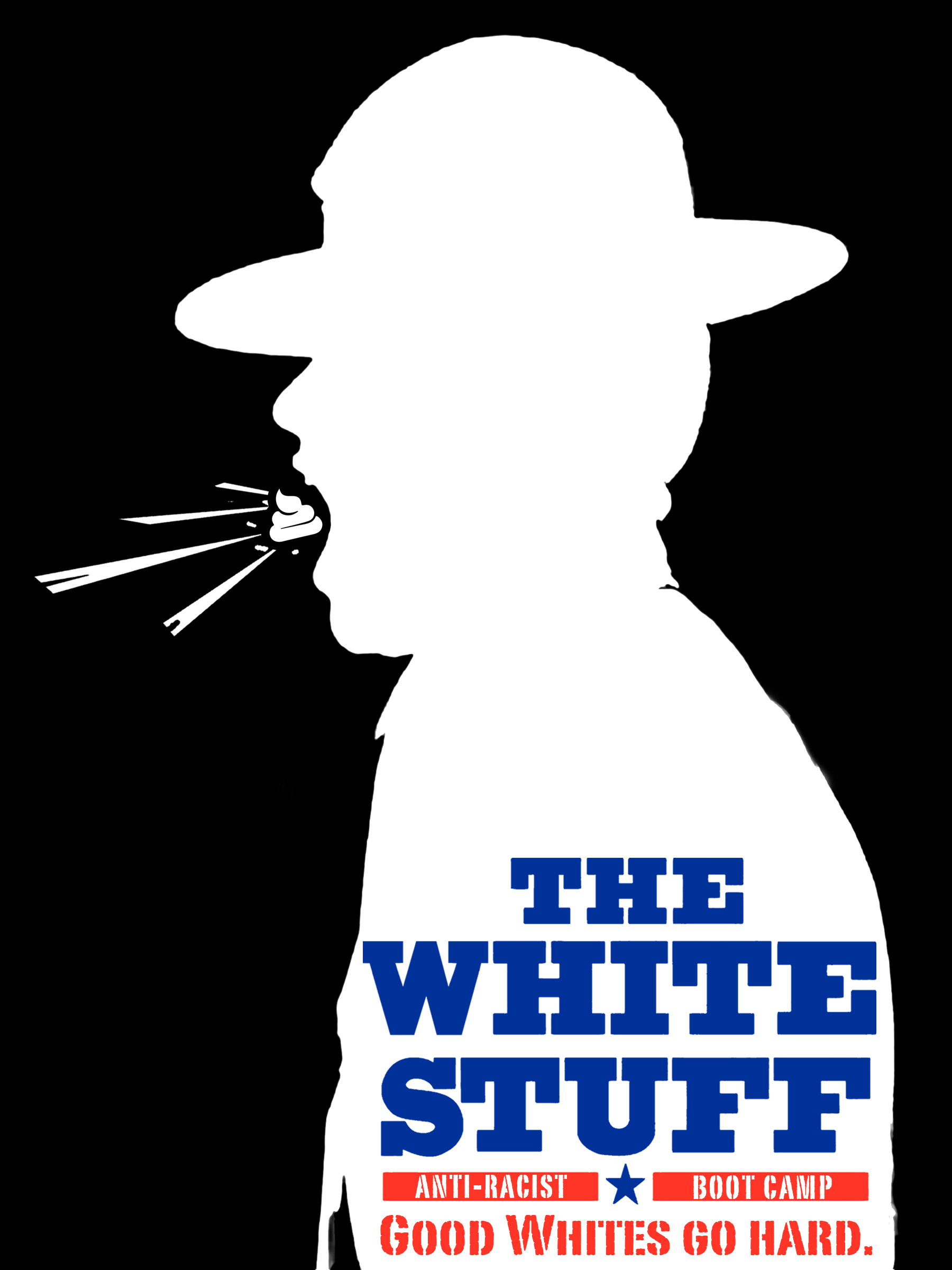 White silhouette of a man in a hat with a swirly turd going into or out of his mouth