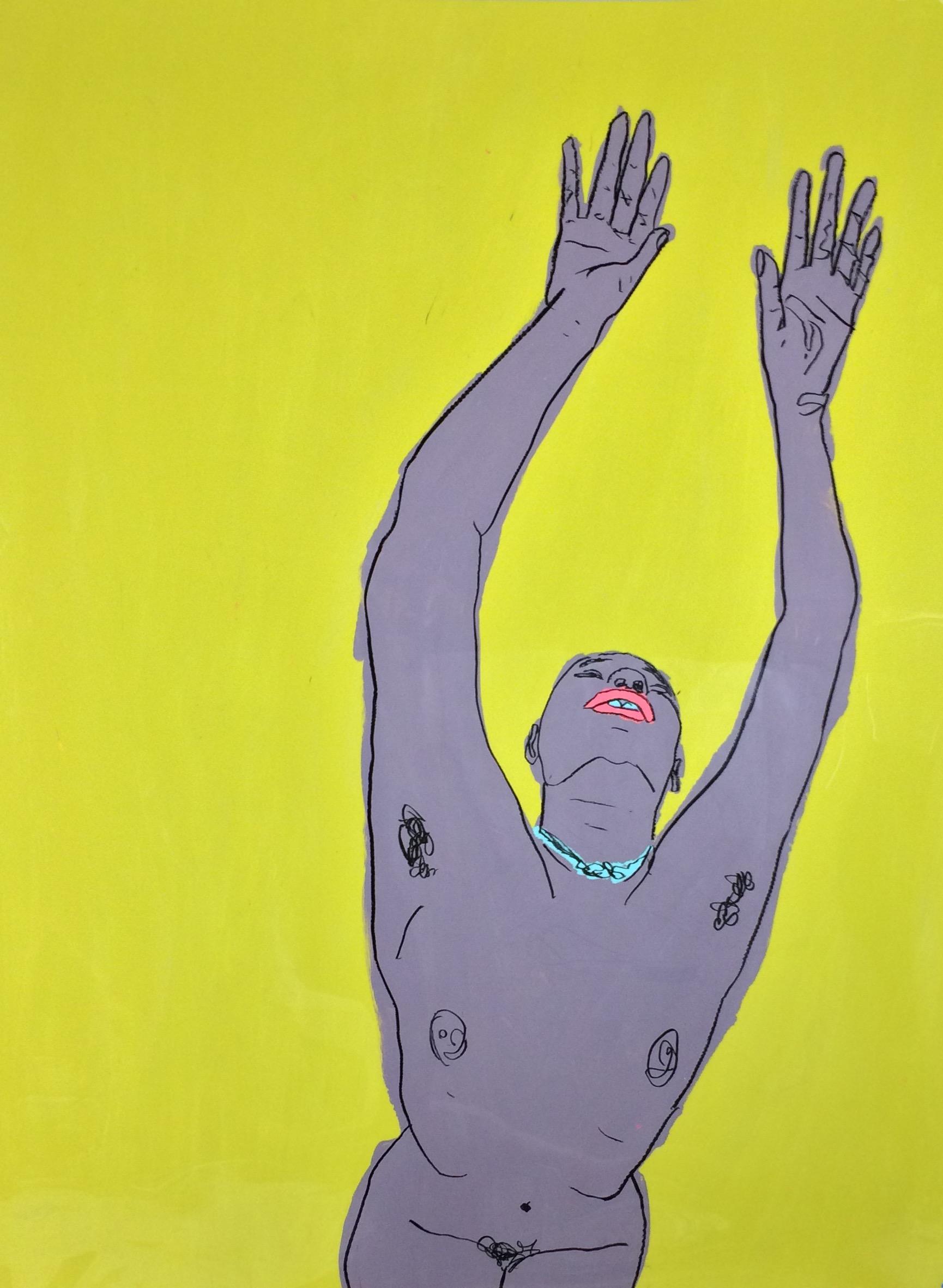 """Torri Hands Overhead"" (2017), black wax marker and acrylic paint on dura-lar."