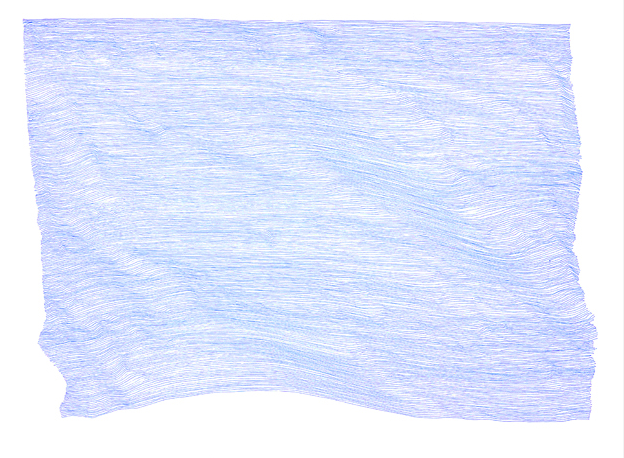 "BLUE IS THE MIND #2 roller ball pen on paper, 25"" x 19.5"", 2013."