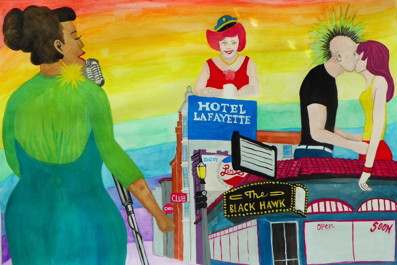 Mural design  by Block Fest Artist Activator Dawn Leigh.